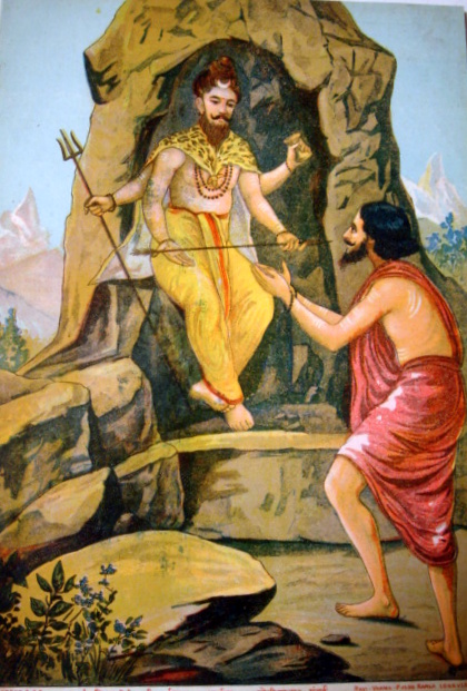 Arjuna recognises Shiva and surrenders to him. Painting by Raja Ravi Varma, 19th century.